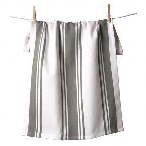 Center Band Kitchen Towels Pewter